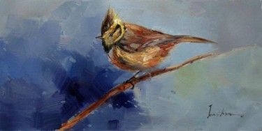 """Painting titled """"Sparrow #203"""" by James Shang, Original Art, Oil Mounted on Stretcher frame"""