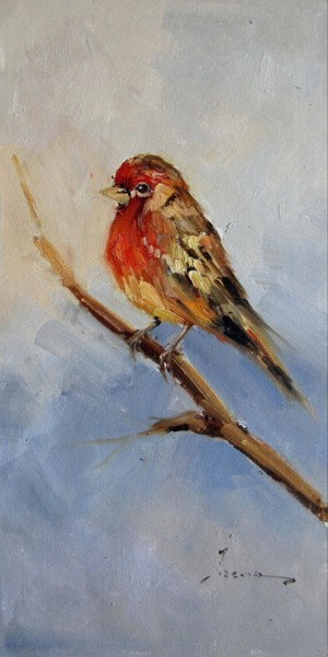 """Painting titled """"Sparrow #207"""" by James Shang, Original Art, Oil Mounted on Stretcher frame"""
