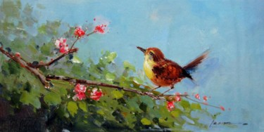 """Painting titled """"Sparrow #212"""" by James Shang, Original Art, Oil Mounted on Stretcher frame"""