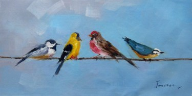 """Painting titled """"Sparrow #213D"""" by James Shang, Original Art, Oil Mounted on Stretcher frame"""