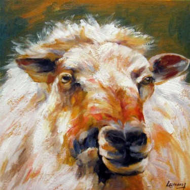"""Painting titled """"Sheep 303"""" by James Shang, Original Art, Oil Mounted on Stretcher frame"""