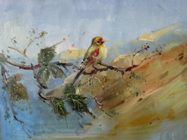 """Painting titled """"Sparrow #008"""" by James Shang, Original Art, Oil Mounted on Stretcher frame"""
