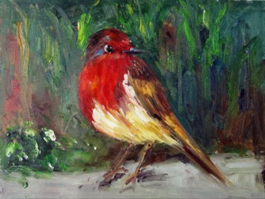 """Painting titled """"Sparrow #009"""" by James Shang, Original Art, Oil Mounted on Stretcher frame"""