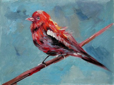 """Painting titled """"Sparrow #011"""" by James Shang, Original Art, Oil Mounted on Stretcher frame"""