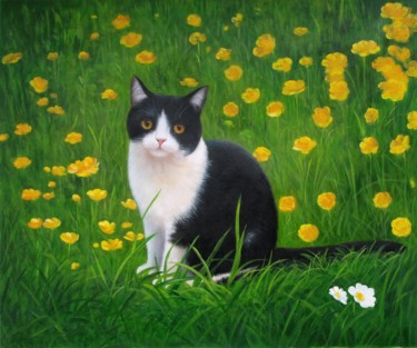 """Painting titled """"Portrait pet cat 001"""" by James Shang, Original Art, Oil Mounted on Stretcher frame"""