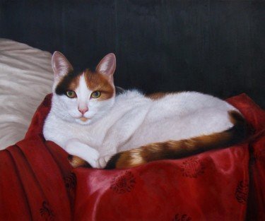 """Painting titled """"Portrait pet cat 005"""" by James Shang, Original Art, Oil Mounted on Stretcher frame"""