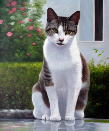 """Painting titled """"Portrait pet cat 007"""" by James Shang, Original Art, Oil Mounted on Stretcher frame"""