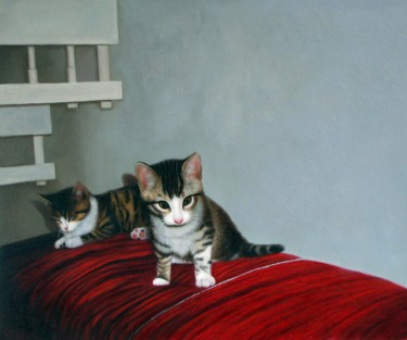"""Painting titled """"Portrait pet cat 008"""" by James Shang, Original Art, Oil Mounted on Stretcher frame"""