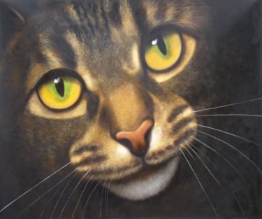 """Painting titled """"Portrait pet cat 009"""" by James Shang, Original Art, Oil Mounted on Stretcher frame"""