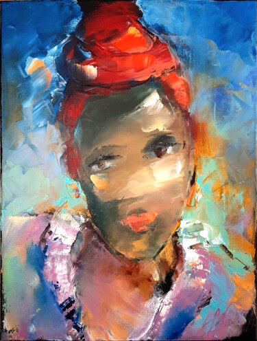 """Painting titled """"African-American wo…"""" by Tata, Original Art, Oil Mounted on Stretcher frame"""