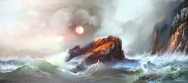 """Painting titled """"A Rock in the waves"""" by Konstantinos Tosounidis, Original Art, Oil"""