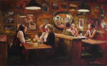 """Painting titled """"Pub"""" by Vachagan Manukyan, Original Art, Oil Mounted on Stretcher frame"""