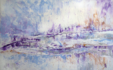 """Painting titled """"Snowfall in the cit…"""" by Marina Kaverinskih, Original Art, Acrylic"""
