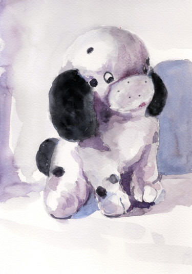 """Painting titled """"Dalmatian puppy Sof…"""" by Art By Aashaa, Original Art, Watercolor"""