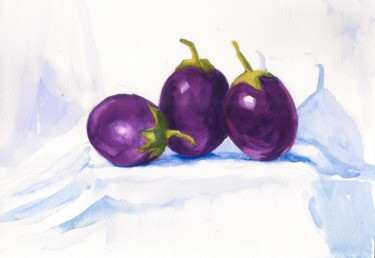 """Painting titled """"Brinjals Three Aube…"""" by Art By Aashaa, Original Art, Watercolor"""