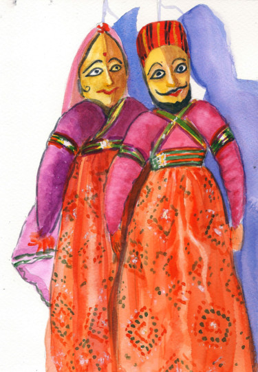 """Painting titled """"Puppets on string"""" by Art By Aashaa, Original Art, Watercolor"""