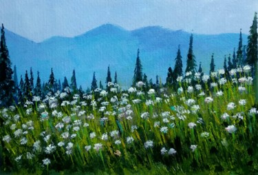 """Painting titled """"Misty blue hills"""" by Art By Aashaa, Original Art, Acrylic"""