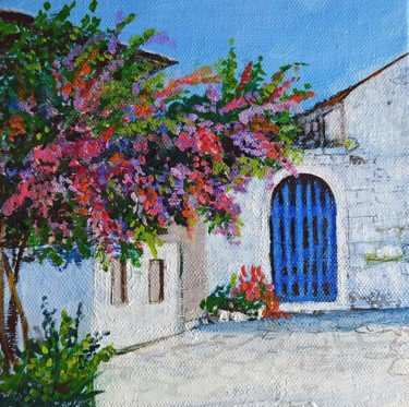 """Painting titled """"Greek Summer House…"""" by Art By Aashaa, Original Art, Acrylic Mounted on Other rigid panel"""