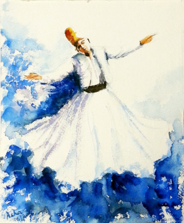 """Painting titled """"Dervish Dancer Sufi…"""" by Art By Aashaa, Original Art, Watercolor"""