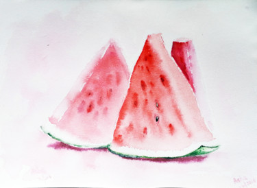 """Painting titled """"Watermelon wedges"""" by Art By Aashaa, Original Art, Watercolor"""