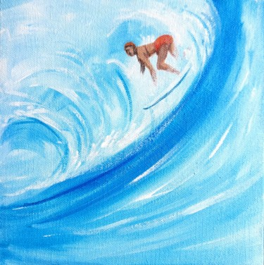 """Painting titled """"Surfing in the sea…"""" by Art By Aashaa, Original Art, Acrylic"""