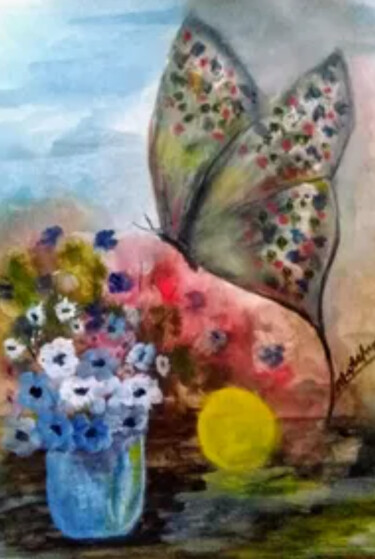"""Drawing titled """"Memory"""" by Mansoureh Ashrafi, Original Art, Oil Mounted on Stretcher frame"""