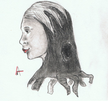 """Drawing titled """"Tree girl"""" by Askew Mind, Original Art, Pencil"""