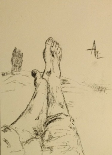 """Drawing titled """"My feet"""" by Askew Mind, Original Art, Charcoal"""