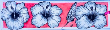 """Drawing titled """"Marque page hibiscus"""" by Mzelle Cecca Artwork, Original Art, Ink"""
