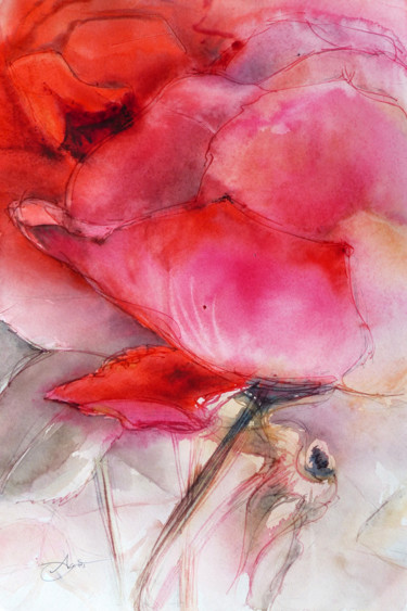 Flower Painting, watercolor, figurative, artwork by Agnès Grégis (Agnès Au pinceau dansant)