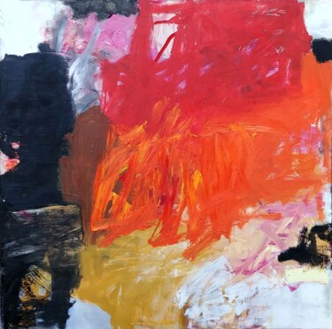 """Painting titled """"Brut Abstract Rouge"""" by Aurélie Jeannin, Original Art, Oil Mounted on Stretcher frame"""