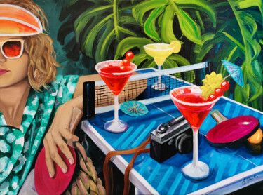 """Painting titled """"Mini Pong"""" by Aurélie Quentin, Original Art, Oil Mounted on Stretcher frame"""