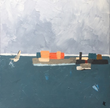 Seascape Painting, acrylic, abstract, artwork by Atelier Blå