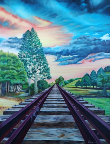 """Painting titled """"Hope Railway"""" by Ausra Manamangas, Original Art, Oil Mounted on Stretcher frame"""