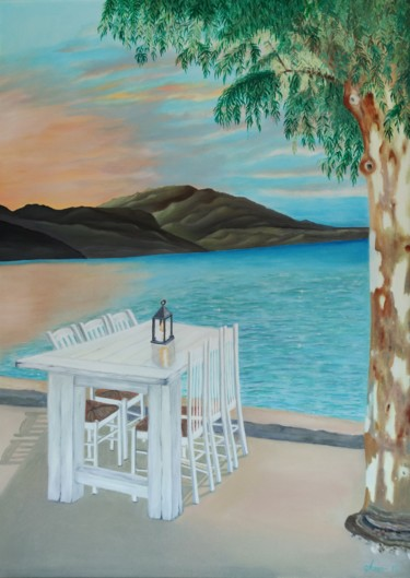 """Painting titled """"Reserved for Romance"""" by Ausra Manamangas, Original Art, Oil Mounted on Stretcher frame"""