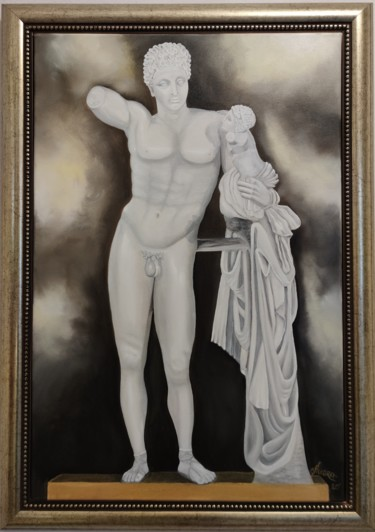 """Painting titled """"Graceful Hermes"""" by Ausra Manamangas, Original Art, Oil Mounted on Stretcher frame"""