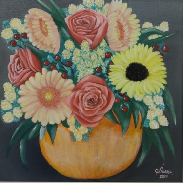 """Painting titled """"Bouquet of Happiness"""" by Ausra Manamangas, Original Art, Oil Mounted on Stretcher frame"""