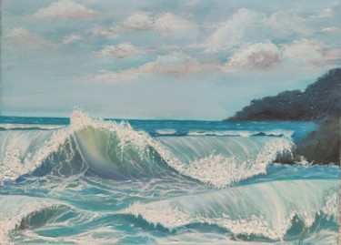 """Painting titled """"Waves Come and Go"""" by Ausra Manamangas, Original Art, Oil Mounted on Stretcher frame"""