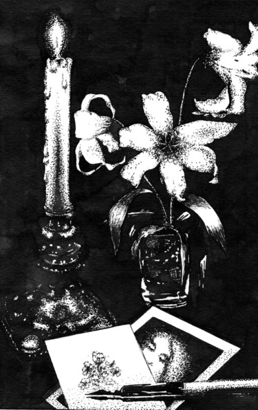 Still life Drawing, ink, expressionism, artwork by Владимир Абаимов