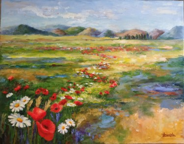 Countryside Painting, acrylic, impressionism, artwork by Azucena
