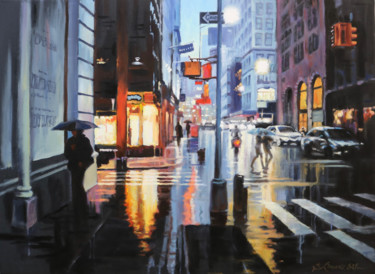 """Painting titled """"Rainy evening in NYC"""" by baibalimane, Original Art, Oil"""