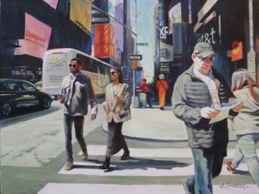 """Painting titled """"For a walk in New Y…"""" by baibalimane, Original Art, Oil"""