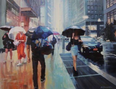 """Painting titled """"Walk in the rainy d…"""" by baibalimane, Original Art, Oil"""