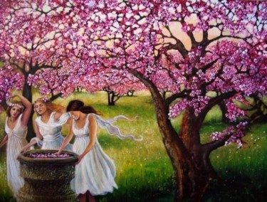 """Painting titled """"Spring Nymphs"""" by Emily Balivet, Original Art, Oil"""