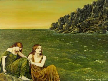 """Painting titled """"Two Women by the Sea"""" by Emily Balivet, Original Art, Other"""