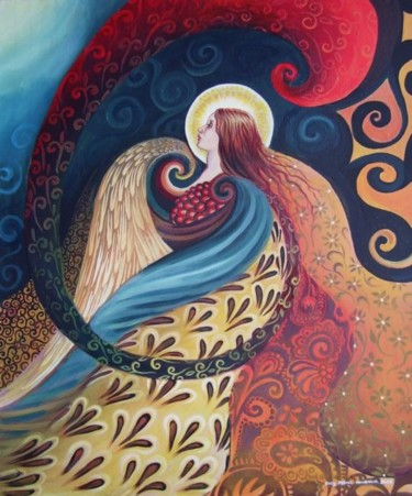 """Painting titled """"Feathered Goddess"""" by Emily Balivet, Original Art, Oil"""