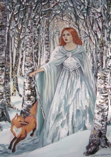 """Painting titled """"White Birch Witch"""" by Emily Balivet, Original Art, Other"""