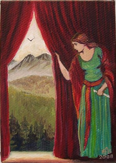 """Painting titled """"The Lady Awaits Her…"""" by Emily Balivet, Original Art, Other"""