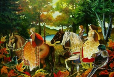 """Painting titled """"Autumn Riders"""" by Emily Balivet, Original Art, Other"""