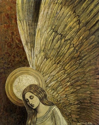 """Painting titled """"Gold Angel"""" by Emily Balivet, Original Art, Other"""
